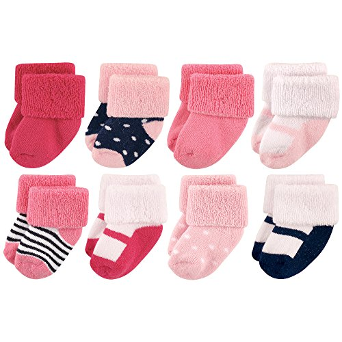 (Luvable Friends Baby 8 Pack Newborn Socks, Navy Mary Jane, 0-6 Months )