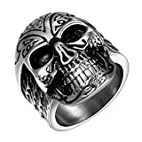 Biker Skull Rings for Men Women Stainless Steel Black Hip Hop Size 10 Jewelry