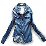 AvaCostume Women's Long Sleeve Double Pocket Slim-fit Jean Denim Shirt