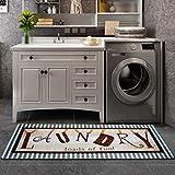 Abreeze Striped Laundry Room Rug Loads of Fun Laundry Rug Durable Washhouse Mat Non-Slip Farmhouse Rug 20'x48'
