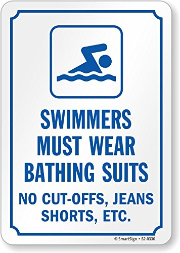 """Lyle Signs SmartSign by Lyle S2-0330-AL-10 """"Swimmers Must..."""