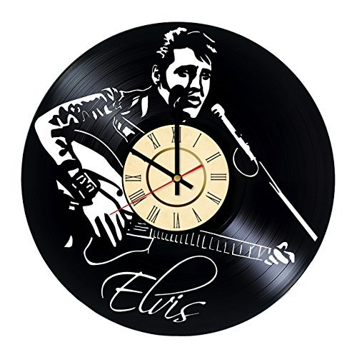 (Fun Door Elvis Presley Vinyl Handmade Vinyl Record Wall Clock for Birthday Wedding Anniversary Valentine's Mother's Ideas for Men and Women him and)