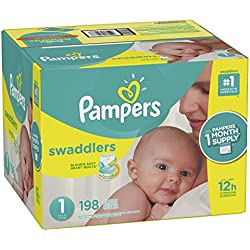 Pampers Swaddlers Disposable Diapers Size 1, 198 Count, ONE MONTH SUPPLY