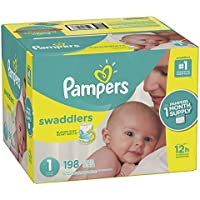 Pampers Swaddlers Disposable Baby Diapers Size 1, 198...