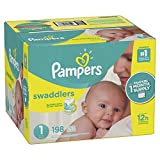 Baby : Pampers Swaddlers Disposable Diapers Size 1, 198 Count