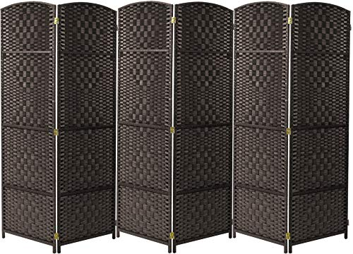 Sorbus Room Divider Privacy Screen, Foldable Panel Partition Wall Divider, Room Dividers and Folding Privacy Screens, Diamond Double-Weaved (6 Panel, Espresso Brown)