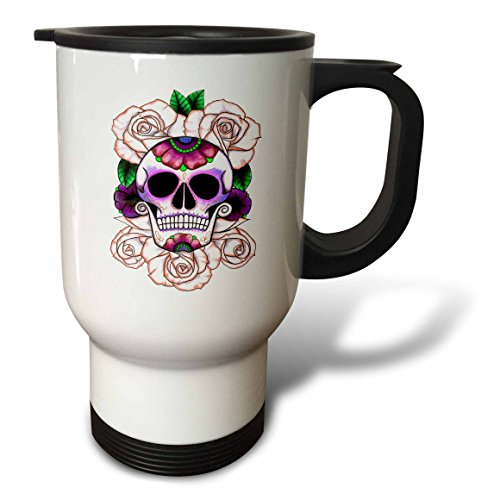 3dRose tm_193529_1 Sugar Skull Roses Travel