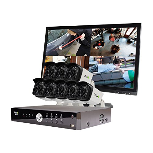 America Aero HD 1080p 16 Ch. Video Security System with 8 Indoor/Outdoor Cameras, White/Black () - Revo RA161B8GM22-2T