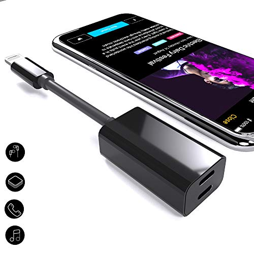 GONJOY Dual Adapter & Splitter Compatible with iPhone 7/7 Plus/8/8Plus, 2 in 1 Headphone Jack Audio and Charge Cable Adapter,Support Call Music Charger Sync Data for iOS 10.3 Devices