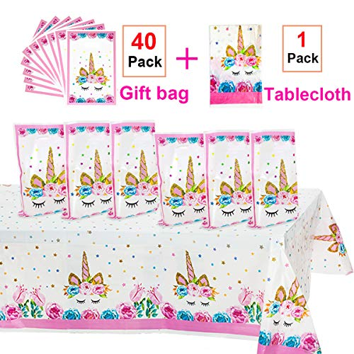 (Unicorn Party Supplies,40 Pack Unicorn Plastic Party Bags & Unicorn Plastic Tablecloth Set,Unicorn Goodies Gift Treat Bags for Candy,Kids Girls Birthday,Party Favors,Cookies.Unicorn Table Cover for Baby Shower.)