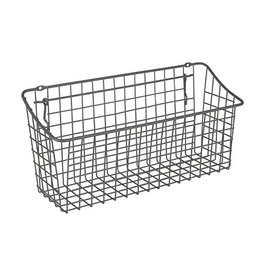 Spectrum Diversified 15″ x 5″ x 7″ Pegboard & Wall Mount Basket, XL Wire Basket for Slatwall & Pegboard, Home & Garage Storage, Versatile Wall Organizer for Tools & Craft Supplies, Industrial Gray