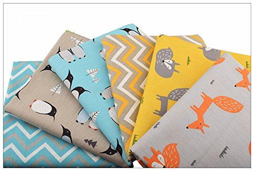 6pcs/lot, New Fox&Penguin Series Twill Cotton Fabric,Patchwork Cloth,DIY Baby&Child Sewing Quilting Fat Quarters Material