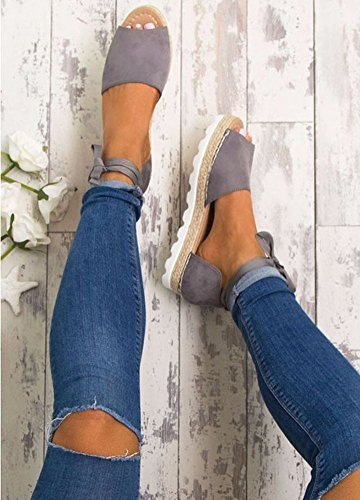 Donna Shoes Basso Estivi Minetom Tacco Sandals Sandali Toe Viola Peep Dolce Caramella Eleganti Spiaggia Scarpe Casuale Colore Rn5qfp