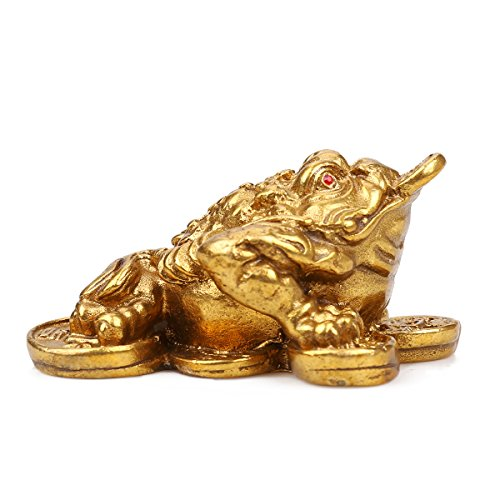 Brass Feng Shui Money Frog (Three Legged Wealth Frog or Money Toad) Statue/Chan Chu Statue/Fortune toad/money - Coin Lucky Money Talisman