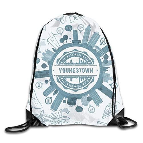X-JUSEN Print Youngstown Ohio Portable Drawstring Bundle Backpack, Burst Sackpack, Tote Cinch Sack, Sport Bag Pocket Daypack
