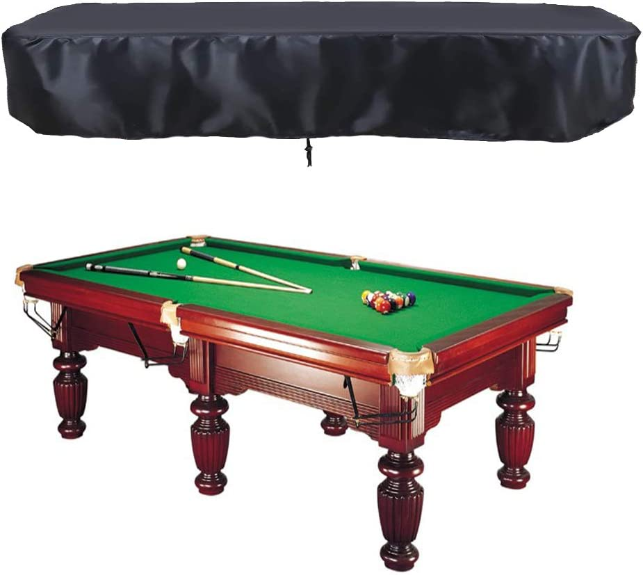 Oslimea 7 8 9ft Billiard Pool Table Cover with Drawstring Durable Waterproof Table Cover for Rectangle Table, Black
