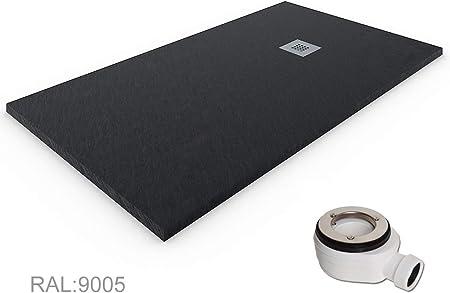 Receveur De Douche Resine Ardoise Charge Minérale Gel Coat 80x160 Cm Noir Ral 9005