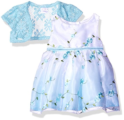 Youngland Baby Girls' Woven Embroidered Ombre Dress and Knit Cardigan, Aqua/White, (Embroidered Woven Skirt)