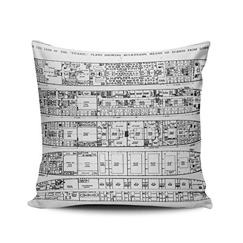 WULIHUA Pillow Covers Inquiry in The Loss of The Titanic Cross Sections Sofa Modern Pillow Case Decorative Throw Pillow Cases Double Sides Printed Square 18x18 Inches