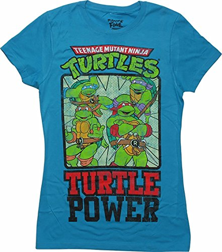 Teenage Mutant Ninja Turtles Juniors TURTLE POWER Fitted T Shirt in Turquoise/Royal Blue