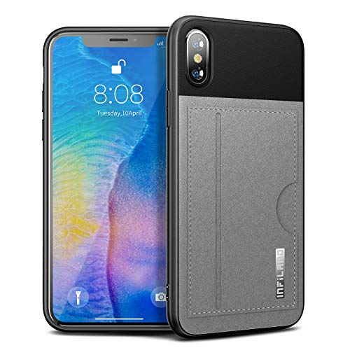 - iPhone XS/X Wallet Case Infiland Synthetic Leather Card Case with Contrast Color Style, Slim Protective Shell Case with Card Storage Slots Compatible with iPhone XS 2018 / X 2017 Grey