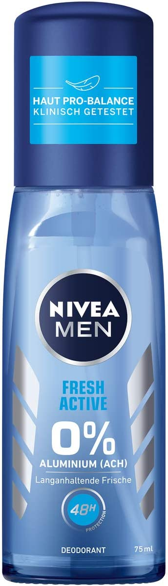 Nivea Men Desodorante Vaporizador para hombres, sin aluminio, desodorante de protección, Fresh Active, 75g
