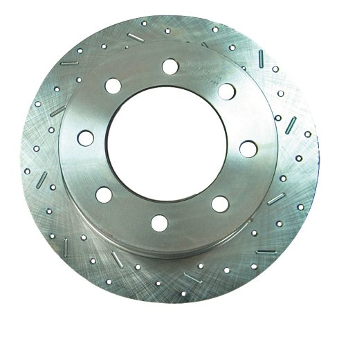 (SSBC 23174AA3R Drilled Slotted Plated Rear Passenger Side Rotor for 1999-06 Silverado 2500/3500 SRW)