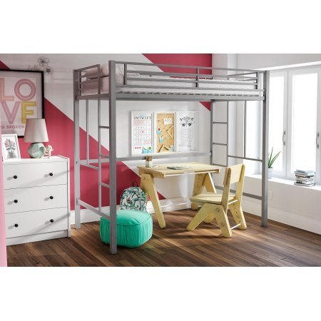 Your Zone Metal Loft Twin Bed by SuperIndoor (Silver) - Place Twin Loft Bed
