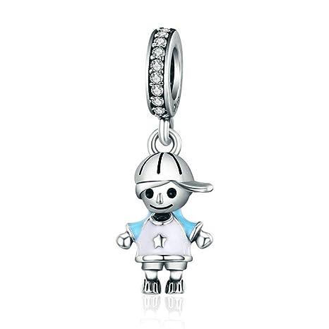 Abalorio de plata de ley 925 con diseño de niño y abalorio ...