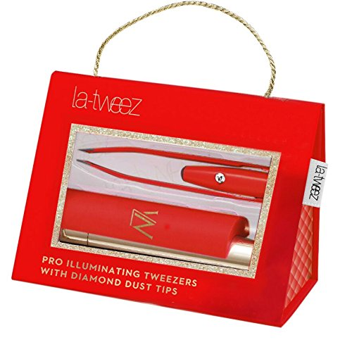 Red PRO Illuminating Tweezers & Mirrored Carry Case with Diamond Dust Tips La-tweez