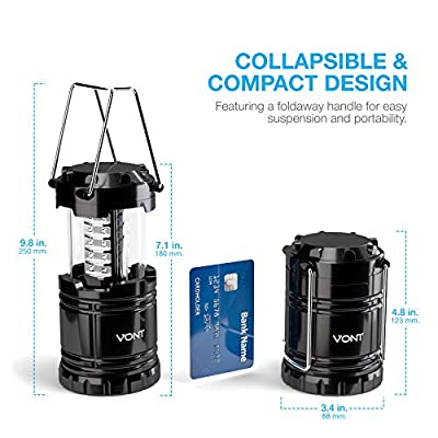 Vont 2 Pack LED Camping Lantern, Portable Lanterns, Great Addition to: Survival Kits Hurricane, Emergency, Storm, Outages, Outdoor Lantern, Black, Collapsible LED Lantern, Includes Batteries