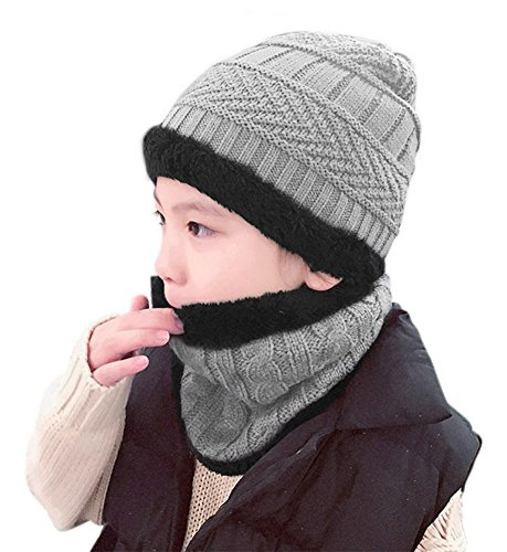 HindaWi Winter Hat Scarf For Boys Girls Kids (5-14 Years) Slouchy Beanie Windproof Warm Knit Snow Infinity Scarf Skull Cap Grey