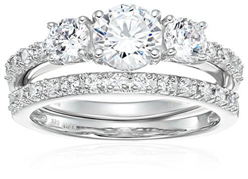 Sterling Silver Cubic Zirconia Round 3-Stone Bridal Ring, Size 6 - 3 Stone Bridal Set
