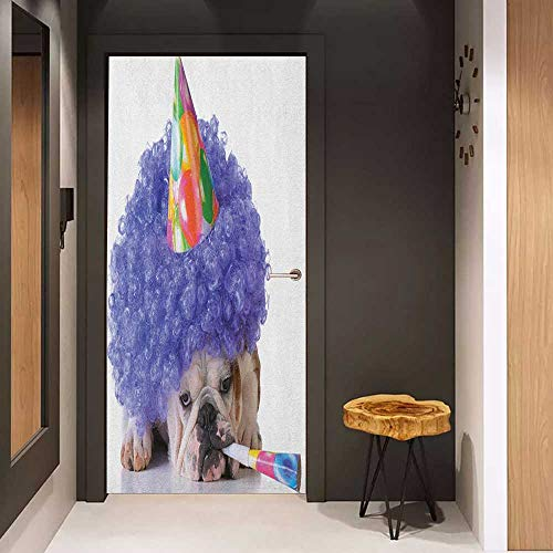 - Onefzc Photo Wall Decal Kids Birthday Boxer Dog Animal with Purple Wig with Colorful Party Cone Funny Photo Print for Home Decor W32 x H80 Multicolor