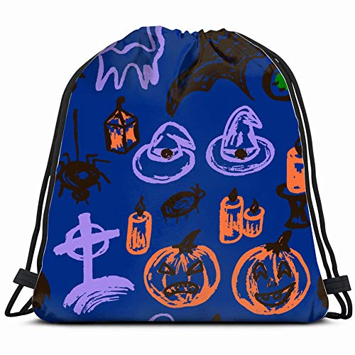 halloween pattern collection festive elements autumn Gym Sack Bag Drawstring Sport Beach Travel Outdoor Backpack for Women 17X14 Inch