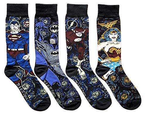 Hyp Superman Batman Flash Wonder Woman Starry Night Mens Crew Socks 4 Pair Pack