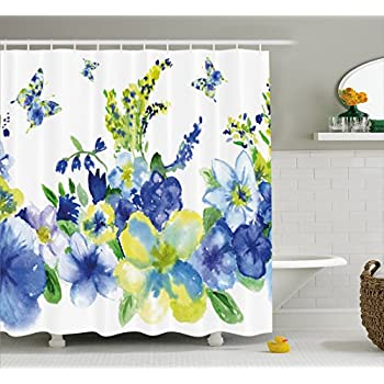 Ambesonne Yellow And Blue Shower Curtain Spring Flower Watercolor Flourishing Vibrant Blooms Artsy Design