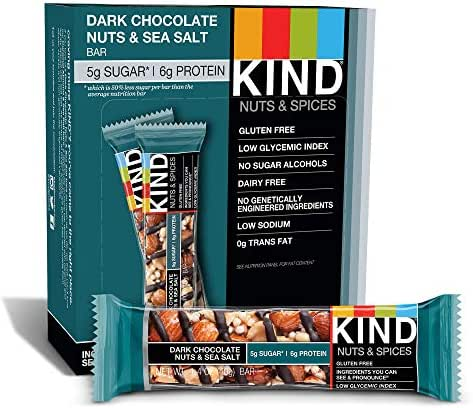 KIND Bars, Dark Chocolate Nuts & Sea Salt, Gluten Free, Low Sugar, 1.4 Ounce Bars, 12 Count (Packaging May Vary)