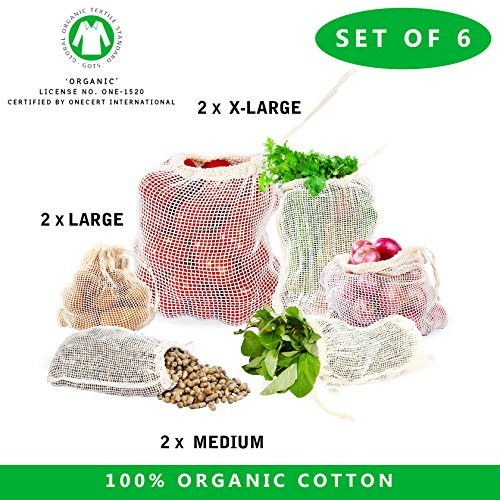 Mesh produce bags organic - Cotton mesh bags - Set of 6 Reusable Organic Cotton Mesh Grocery Shopping Produce Bags GOTS Certified cotton mesh produce bags (Set of 6 - Medium, Large, xLarge Mesh bags)