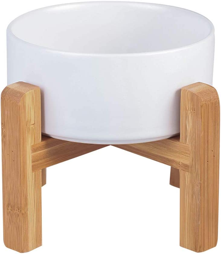 LIONWEI LIONWELI Ceramic Elevated Raised Cat Bowl with Wood Stand No Spill Pet Food Water Feeder Cats Small Dogs