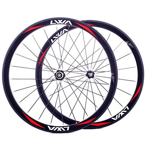 LVWA® full 3K carbon fiber bike wheelset Road bicycle 700C Tubular wheel WHR38T1L