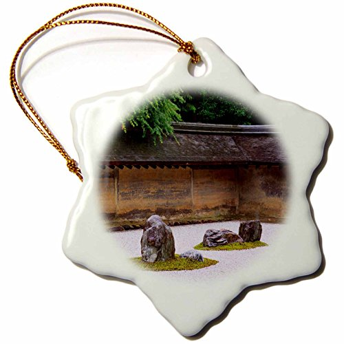 3dRose Danita Delimont - Kyoto - Rocks and raked gravel at Zen garden, Ryoan-Ji Temple, Kyoto, Japan. - 3 inch Snowflake Porcelain Ornament (orn_247635_1) (Ryoanji Temple Kyoto Japan)
