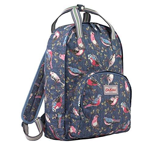 Kidston Cath Birds - Cath Kidston Matt Oilcloth Multi Pocket Backpack Rucksack Small Garden Birds Mid Blue 16AW