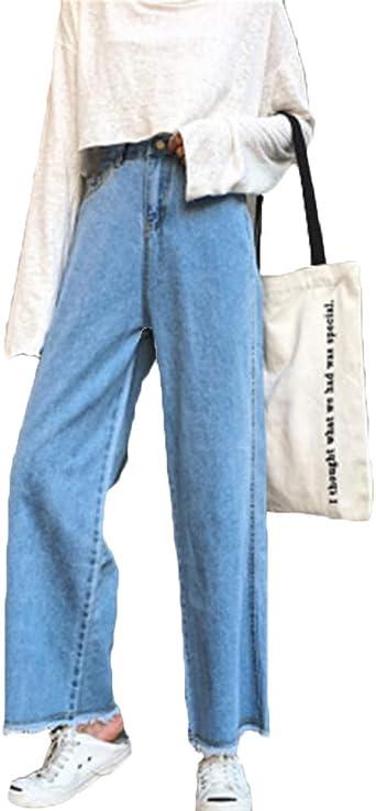 Mujer Rectos Vaqueros Anchos Push Up Boyfriend Jeans Retro Elasticos Pantalones Anchos Amazon Es Ropa Y Accesorios