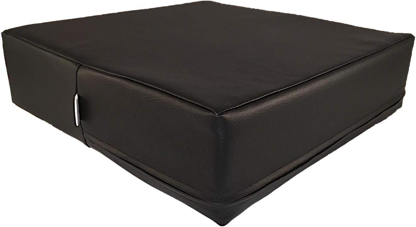 Cojín ortopédico para silla de 40 x 40 x 10 cm, cojín de asiento contra dolores de espalda y coxis, de espuma de gel. Para silla, coche, banco, cama. Asiento elevador negro con pi