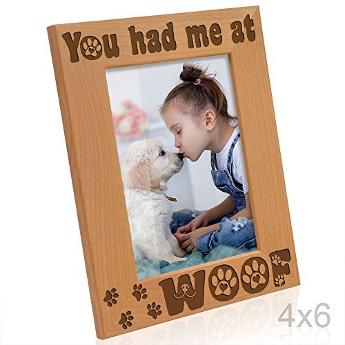 Kate Posh - You had me at Woof - Dog Paws Engraved Picture Frame (4x6 Vertical) (Dog Picture Frame Vertical)