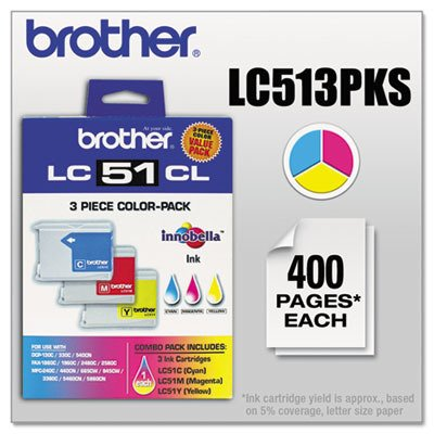 Brother Genuine Standard Yield 3 Pack Color Ink Cartridges, LC513PKS, Includes 1 Cartridge Each of Cyan, Magenta & Yellow, Page Yield Up To 400 Pages/Cartridge, Amazon Dash Replenishment Cartridge, LC51 ()