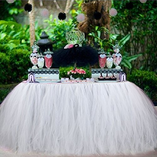 Aytai TUTU Table Skirt Tulle Tableware 100 x 80CM Wonderland Skirting Romantic for Wedding Christmas Party Baby Shower Birthday Cake Table Girl Princess Decoration(1, White) -