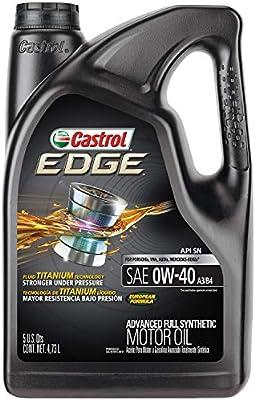 Castrol 03101 Edge 0W-40 A3/B4 Advanced Full Synthetic Motor Oil, 5 Quart, 1 Pack