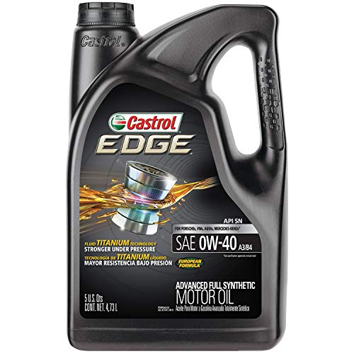 Castrol 03101 EDGE 0W-40 A3/B4 Advanced Full Synthetic Motor Oil, 5 quart, 1 pack